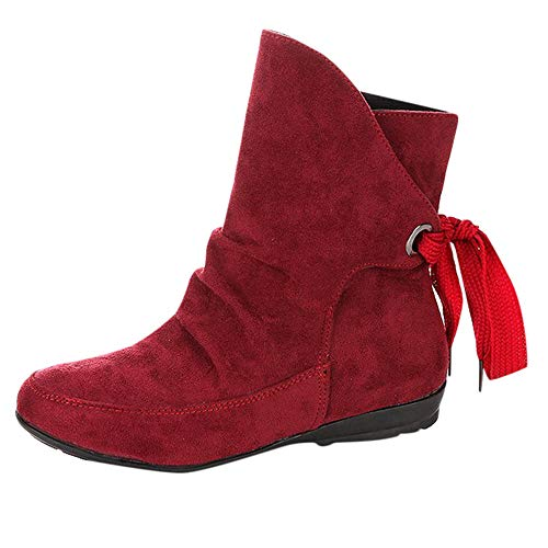 Josie Platform Shoes - ✔ Hypothesis_X ☎ Women Ankle Boot - Low Stacked Heel Closed Toe Casual Lace Up Buckle Roman Ankle Short Boots Red
