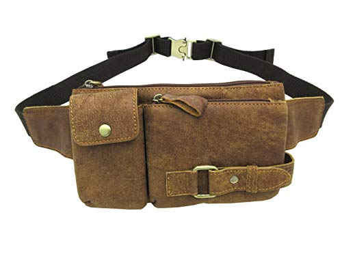 Huameibang Genuine Leather Waist Packs Fanny Pack with Adjustable Strap for Travel Running Hiking (Yellowish-brown)