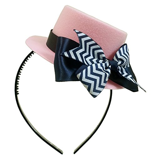 [Mad Hatter Striped Bow Pink Mini Top Hat Headband Alice in Wonderland Birthday Tea Party Baby Shower] (Mad Tea Party Costume)