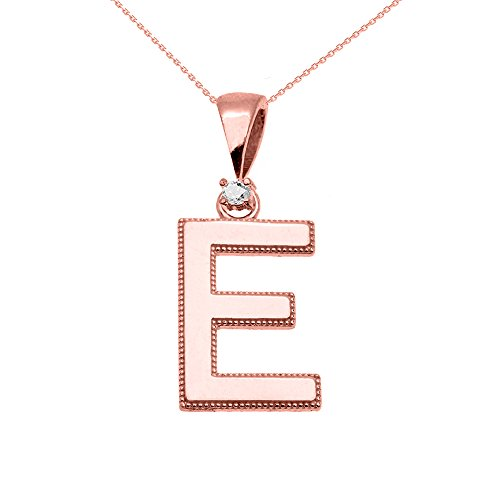 """Collier Femme Pendentif 10 Ct Or Rose Poli Élevé Milgrain Solitaire Diamant """"E"""" Initiale (Livré avec une 45cm Chaîne)"""