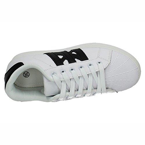 DEMAX 7-K2822B-12 Sneakers REFORZADAS Mujer Deportivos Blanco-negro
