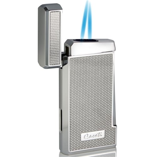 Caseti Silver Carbon Fiber Double Torch Flame Cigar Lighter (Silver Double Torch)