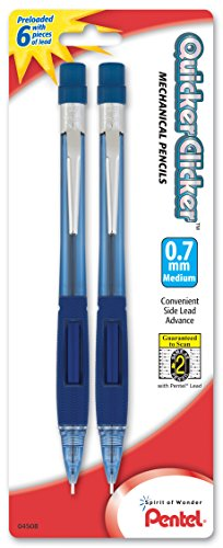 (Pentel Quicker Clicker Automatic Pencil, 0.7mm, Transparent Blue Barrel, 2 Pack (PD347BP2-K6))