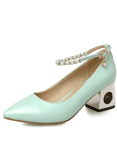 GGX/Damen Spitz geschlossen Zehen Kitten Heels Massiv Schnalle pumps-shoes green-us6.5-7 / eu37 / uk4.5-5 / cn37