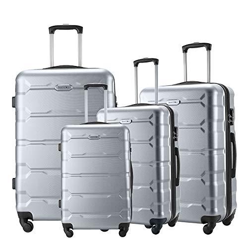 (Seanshow 4 PCS Luggage Sets Spinner Lightweight Hardshell Suitacase Set with 18