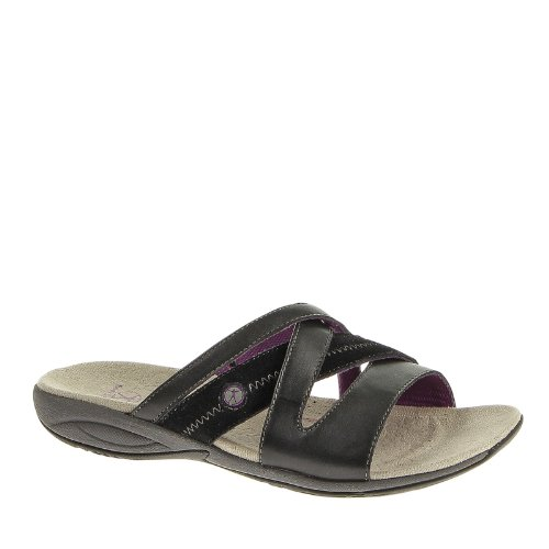 Hush Puppies Womens Zendal Slide X-Band Sandals Black Leather Suede s21CtX7n