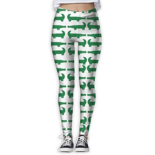 WJM SHOW Women's Cartoon Green Alligator Leggings Yoga Long Pants Casual Sweatpants Athletic Gym Pants