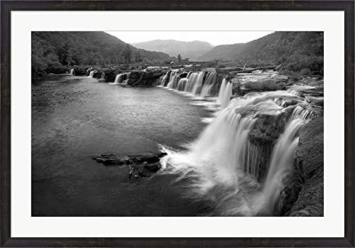 New River Falls, West Virginia by Panoramic Images Framed Art Print Wall Picture, Espresso Brown Frame, 41 x 29 inches