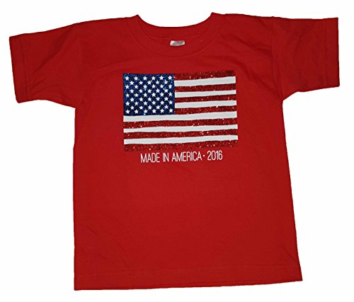 Girls American Flag Made In America 2016 Red Graphic T-Shirt - Medium