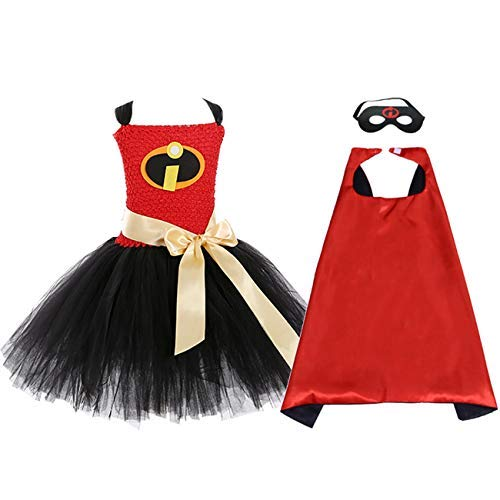 AQTOPS Halloween Incredibles Costumes for Kids Role Play Elasticgirl Tutu Dress Outfits, Size 10 -