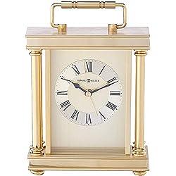 Howard Miller Audra Table Clock 645-584 - Brass Carriage Clock with Quartz Alarm Movement