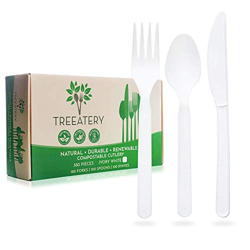 Treeatery Compostable Cutlery Set – 380 Pack [180 Forks, 100 Spoons, 100 Knives] – Plant A Tree With Every Box -Large…