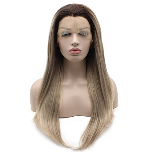 Iewig Long Straight Synthetic Lace Front Wig Gray Mix Heat Friendly Wig
