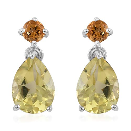 Dangle Drop Earrings 925 Sterling Silver Platinum Plated Lemon Quartz Citrine Jewelry for Women Ct 1.8