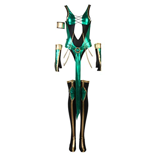 CosplayDiy Women's Suit for Game Mortal Kombat X Jade Cosplay Costume M -