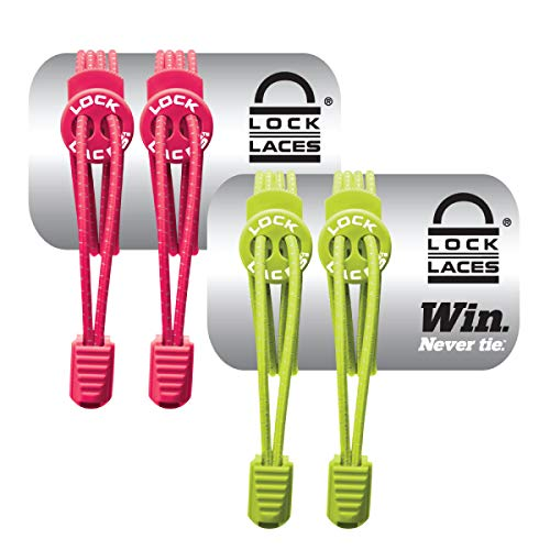 LOCK LACES (Elastic No Tie Shoe Laces (Pack of 2) (Pink-Green)