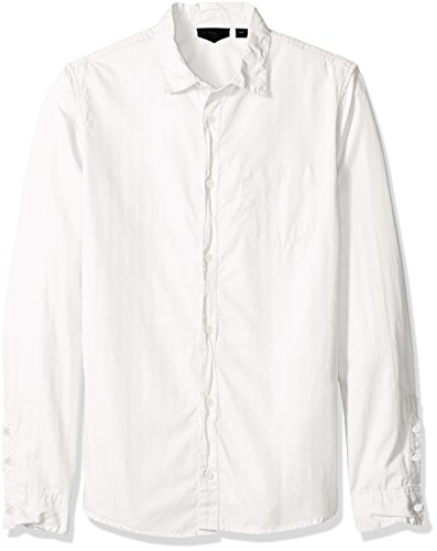 Rogue Men's Button up Solid Woven Shirt, White, XX-Large