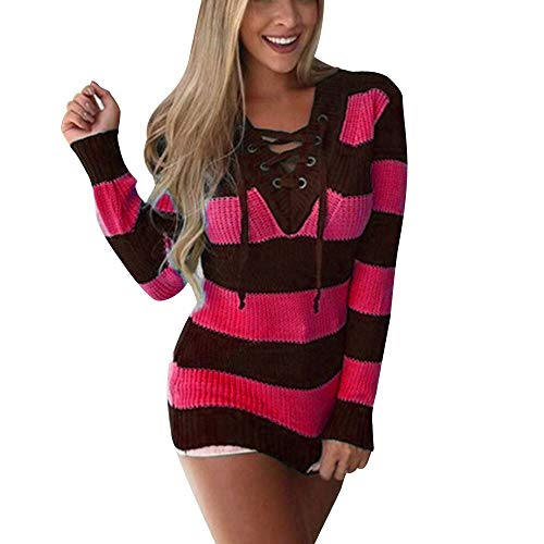 Colorblock Bandage - Womens V Neck Cross Bandage Colorblock Stripe Knitted Sweater Bodycon Jumper Tops