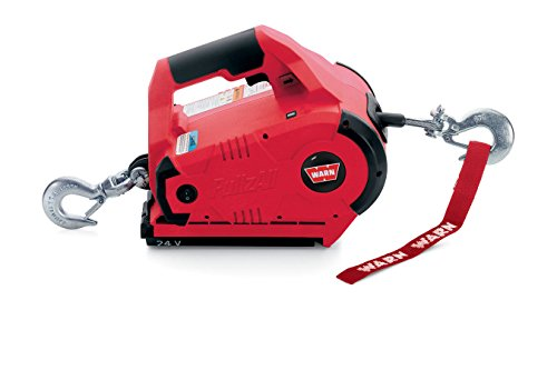 WARN 885005 PullzAll Cordless 24V DC Portable Electric Winch with Steel Cable and 2 Rechargeable Battery Packs: 1/2 Ton (1,000 lb) Lifting/Pulling Capacity
