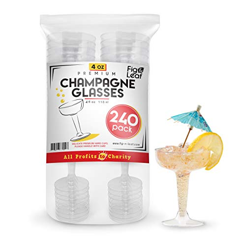 Fig & Leaf (240 Count) Premium Hard Plastic Two Piece 4-Ounce Champagne Glasses l Crystal Clear Champagne Coupe Flute Perfect for Wedding Toasting Mimosas Moscato ()