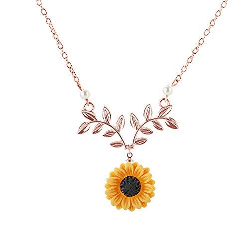 krun Gold-Color Hope Flowers Sunflower Clavicular Bones Pendant Short Yellow Daisy Flower Necklace Romantic Gift