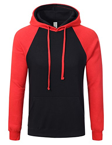 JD Apparel Mens Hipster Hip Hop Two-tone Pullover Hoodies S black red