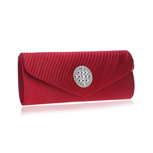 Strap Evening Rhinestones Wedding Envelope Chain Handbag Bag Women Clutch Purse Red With AwB6xvn