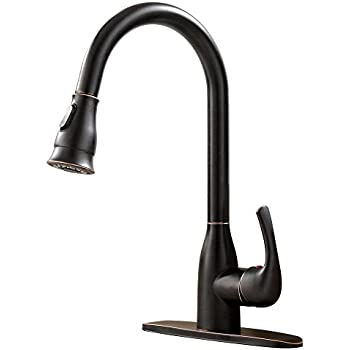 Ufaucet Solid Brass Single Handle Pull Out Sprayer Oil Rubbed Bronze ...