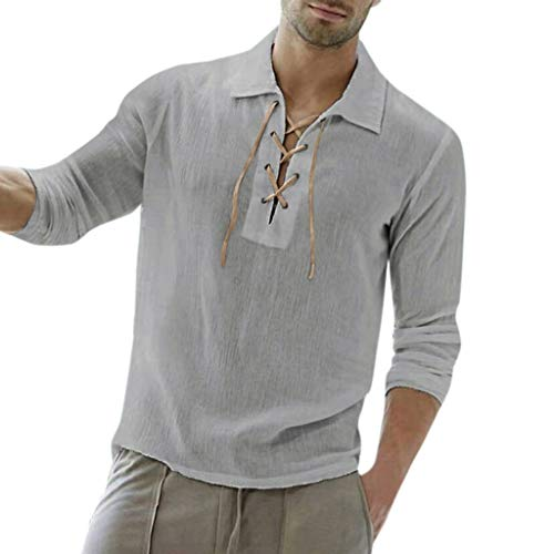 Men's Long Sleeve Shirts Beautyfine Baggy Cotton Blend Solid Color Turn-Down Collar Blouse Gray