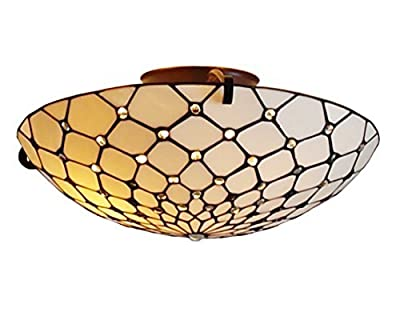 "Amora Lighting AM030CL17 Tiffany Style Ceiling Fixture Lamp, 17""W"