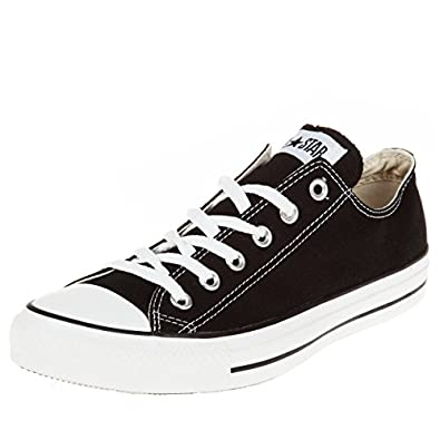 converse black and white. converse unisex chuck taylor classic sneaker, all star ox, black, us mens 6, womens 8 medium black and white f