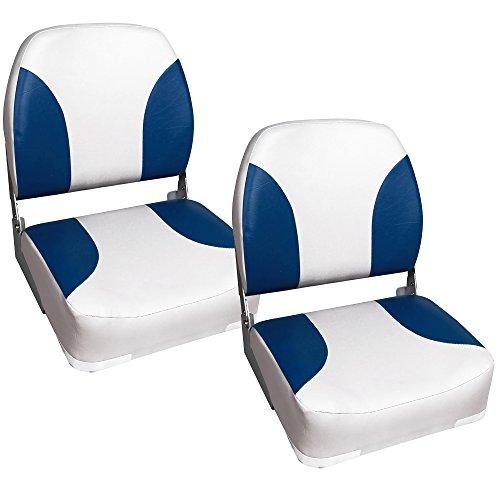 2x Bootssitze Bootssitz Bootsstuhl Steuerstuhl Boot Sitze Blau-Weiß Kunst-Leder