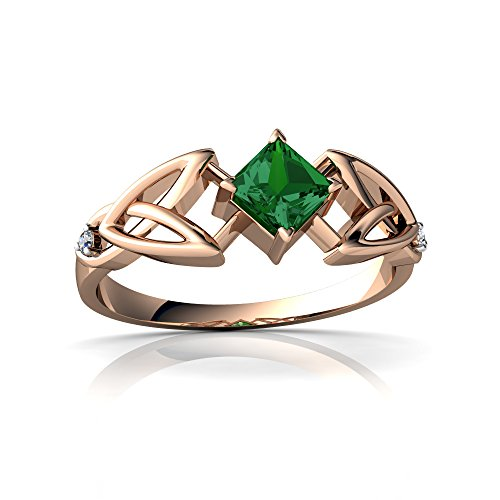 14kt Rose Gold Lab Emerald and Diamond 4mm Square Celtic Trinity Knot Ring - Size 4.5