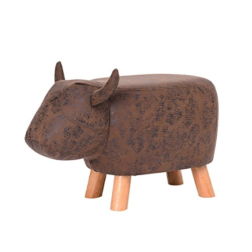 Decorative Ottoman Stool Fjfz Buffalo Bull Figure Shoe-changing Bench for Kids Toy Living Room Furniture with 4 Beech Wood Legs and Leather Cover, 24 X 13, Tan and Brown