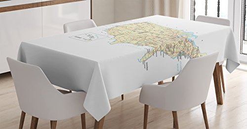 Wanderlust Decor Tablecloth by Ambesonne, USA Detailed Map Topographic Contours Country and Land Names roads, Railways., Dining Room Kitchen Rectangular Table Cover, 60 X 90 Inches,
