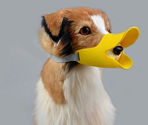 CIDEROS Pet Dog Muzzles Anti Bite Duck Bill Mouth Shape Dog Mouth Covers Adjustable Silicone Protection Muzzle Masks Pet Mouth Set No Bite No Bark By Small Size, Yellow