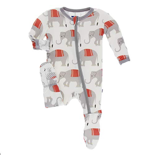 Kickee Pants Little Boys Print Footie with Zipper - Natural Indian Elephant, 3T