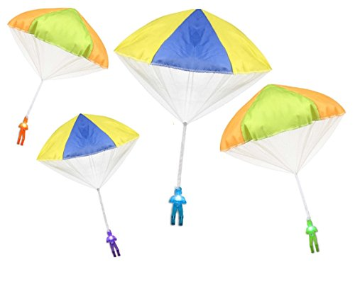 Light Up 4 Pack Tangle Free Throwing Toy Parachute Man Glow in the Dark! Blue, Orange, Green and Purple! for Kids and children
