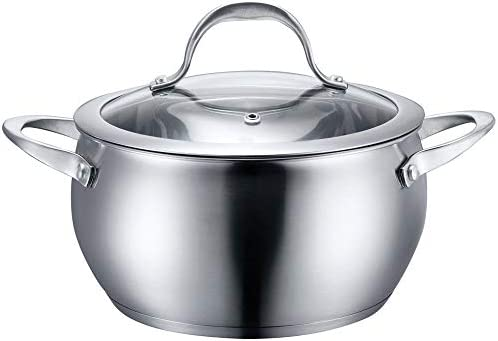 Stainless Steel Cookware Sauce Pot with Lid 4 QT