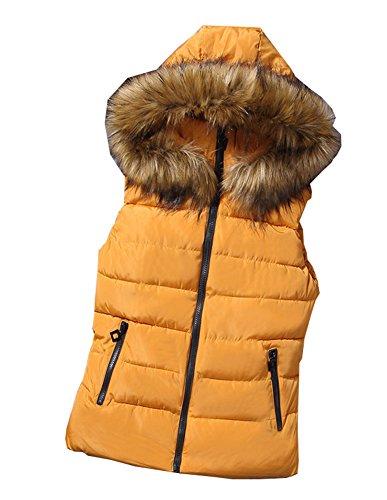 自伝ワゴンスクランブルFEVON ダウンベスト レディース ノースリーブ ファフード付き 無地 ベスト 秋冬 シンプル 着やすい 防寒服 カジュアル キレイ おしゃれ