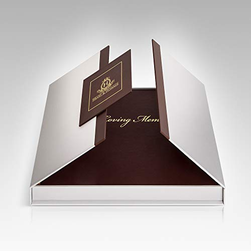- Funeral  and  Memorial Guest Sign-in Book ,  PU Leather Hardcover, Large - Beautiful, Celebration of Life Registration Books - Burgundy with Gold Etching