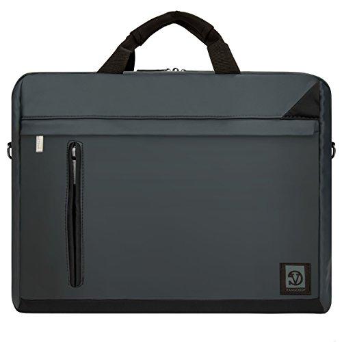 Adler 15.6 Inch Briefcase, 2 in 1 Laptop Messenger Shoulder Bag [Charcoal] for 14
