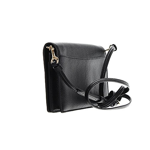 Pebbled Womens Leather Black Over Li Crossbody Fold COACH Polished qvfHFxH7