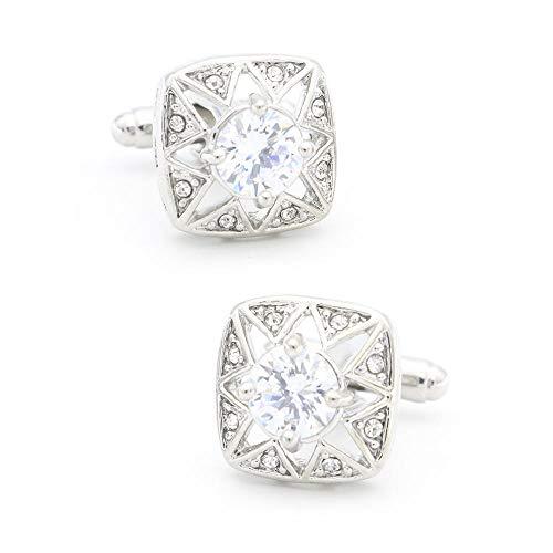 Fashion Square White Crystal Cufflinks 2PC Polygon Star French Shirt Cufflinks