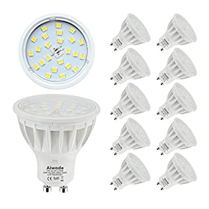 5W GU10 LED Bulb Daylight White 6000K Equivalent 50W Not Dimmable RA85 600LM,120°Beam Angle,10 Pack.