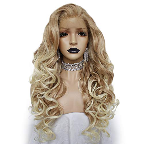 Anogol Hair Cap+Blonde Lace Front Wig for White Women Blond Ombre Lace Front Wig with Long Curly Lace Front Wigs Synthetic Hair for Party ()