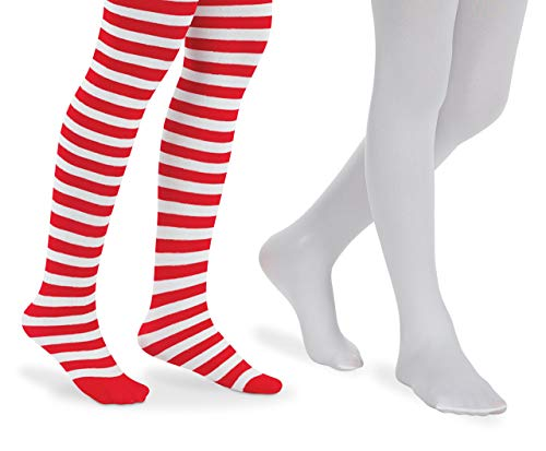 Jefferies Socks Girls Fun Red and White Striped Book Character Costume Dress Up Tights 2 Pair Pack (8-10 Years, Red/White) -