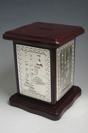 (Wood & Silver Plated Tzedakah Box / Charity Box Designed with Shabbat Motifs.)