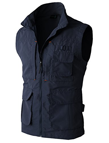 H2H Mens Casual Work Utility Hunting Fishing Vest Travels Sports Mesh Jacket With Multi-Pockets Navy US XL/Asia XXL (KMOV081)