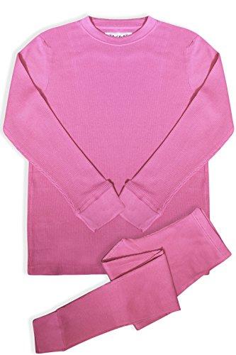 Wool Underwear Long Johns - BASICO Women's 2pc Long John Thermal Underwear Set 100% Cotton (XL, Cotton Blend Pink)